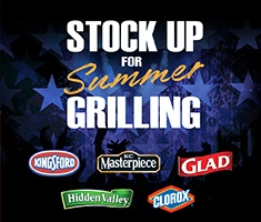 Stock Up for Summer Grilling: Kingsford, KC Masterpiece, Glad, Hidden Valley, and Clorox.