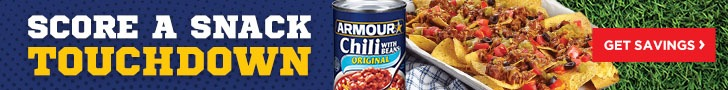 Score a snack touchdown with Armour Chili when you save $.50 off any 2 products.